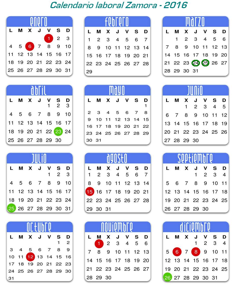 calendario laboral 2016 festivos y fechas cinco días 23 mar 2016 el ...